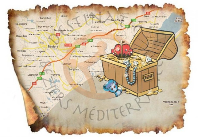 Old fashion map with Treasure Box